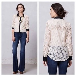 Anthro Vanessa Virginia Gemma Lace Button Up Top